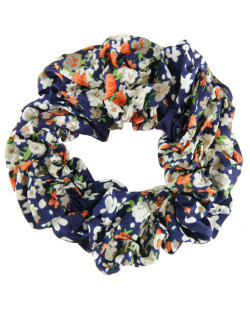 Scrunchie rabicó de tecido floral azul