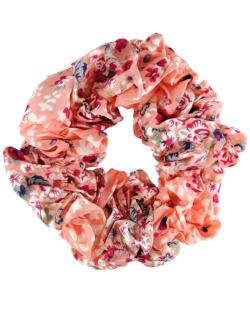 Scrunchie rabicó de tecido floral coral