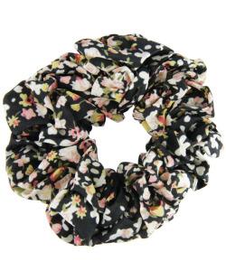 Scrunchie rabicó de tecido floral preto
