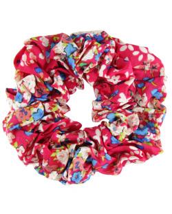 Scrunchie rabicó de tecido floral rosa