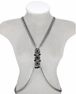 Colar body chain prateado com pedras pretas Clara