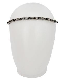 Headband elástico prateado strass preto Juliana