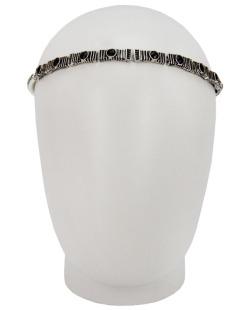 Headband elástico prateado strass preto Flávia