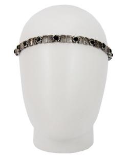 Headband elástico prateado strass preto Cris