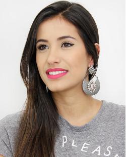 Maxi brinco grafite strass e pedra rosê Mariana Amaral