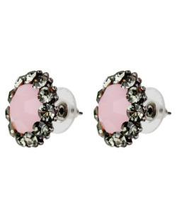 Brinco pequeno strass fumê e pedra rosa Paula Negrão