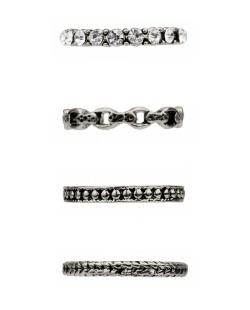 Kit 4 anéis prateados strass cristal Lara