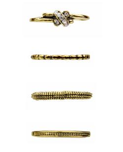 Kit 4 anéis dourados strass cristal Luciana