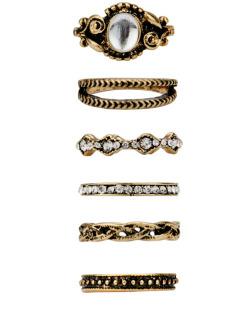 Kit 6 anéis dourados Avery