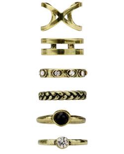 Kit 6 anéis dourados Avonlea