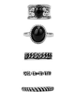 Kit 5 anéis prateados Bellatrix