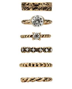 Kit 6 anéis dourados Binx