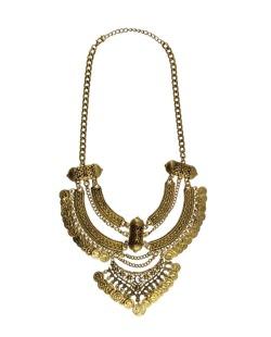 Maxi colar dourado e cristal Dalma