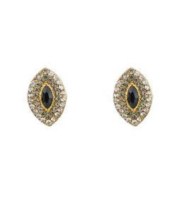 Brinco dourado, preto e cristal Mariana Amaral