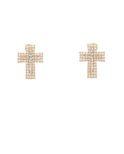 Brinco dourado e cristal cruz Lucien