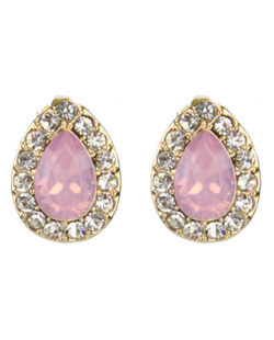 brinco dourado, cristal e rosa Sampaio