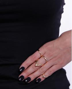 Kit 3 anéis dourados Valery