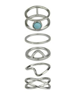 Kit 5 anéis prateados e azul Iman
