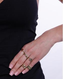 Kit 5 anéis dourado e vermelho  Malachite