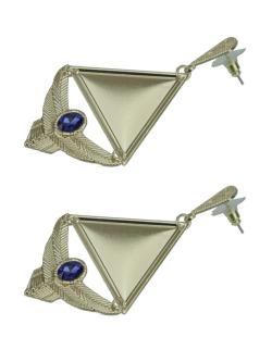 Maxi brinco dourado e azul Aries