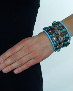 KIT 5 pulseiras prateadas e azul turquesa Souris