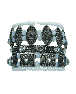 KIT 5 pulseiras prateadas e branca Souris
