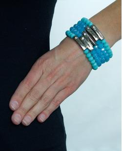 Kit 5 Pulseiras prateada e azul gratidão