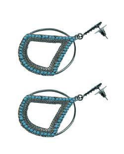 Maxi brinco grafite e azul turquesa flâneur