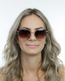 Óculos de sol dourado e marrom Kansas