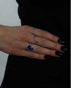Kit de 4 anéis prateado e azul Nashik