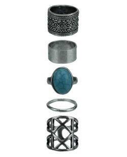 Kit de 5 anéis prateado e azul turquesa Meerut