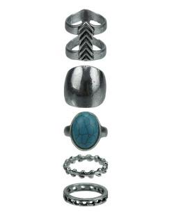 Kit de 5 anéis prateado e azul turquesa Amritsar