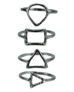 Kit de 4 anéis prateados Jabalpur