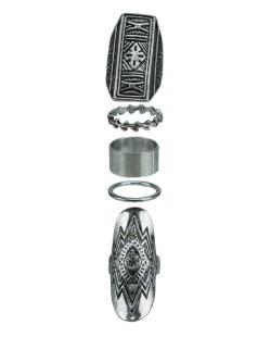 Kit de 4 anéis prateados e cristal Jodhpur