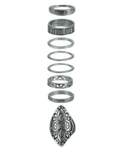 Kit de 8 anéis prateados Raipur