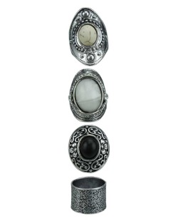 Kit de 4  anéis prateados, branco e preto Kota