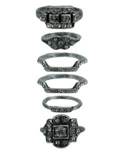 Kit de 5 anéis prateados e cristal Guwahati