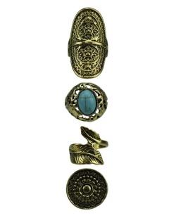 Kit de 4 anéis dourados e azul turquesa Bhiwandi