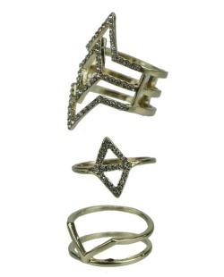Kit de 3 anéis dourados e cristal Kochi