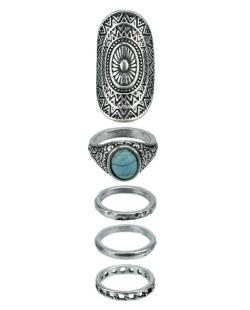 Kit 5 anéis prateado e azul turquesa Handa