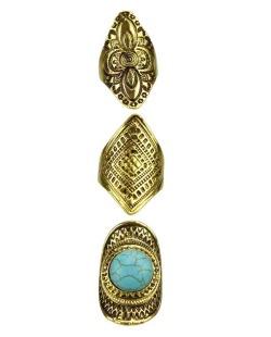 Kit 3 anéis dourado e azul turquesa Mutsu