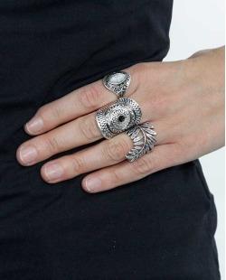 Kit 3 anéis prateado e marmorizado Nishio