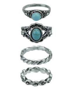 Kit 4 anéis prateado e azul turquesa Anjō