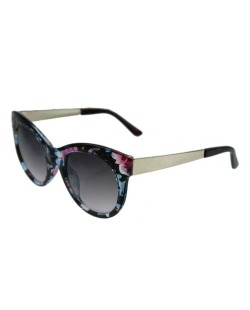 Óculos de sol dourado e floral rosa Betsey Johnson