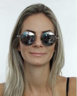 Óculos de sol prateado e lente espelhada Herrera