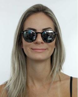 Óculos de sol preto e lente espelhada Gaultier