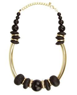 Maxi colar madeira dourado e preto Percival