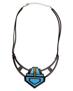 Maxi colar acrílico preto, azul e marrom Porpentina