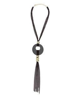 Maxi colar preto, dourado e cinza Valen