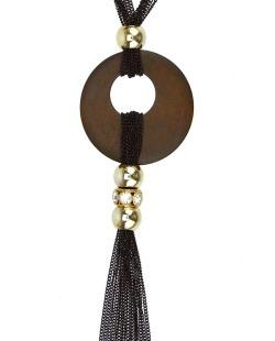 Maxi colar preto, dourado e marrom Valen